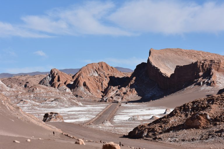 dusty road through Valle de la luna