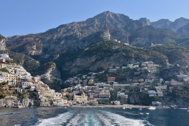 Positano and cliffs of the Amalfi coast Italy