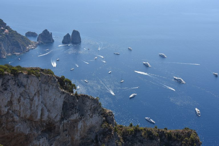 The yachts in the waters of capri
