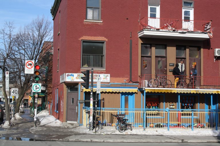 bright street in Mile End Montreal