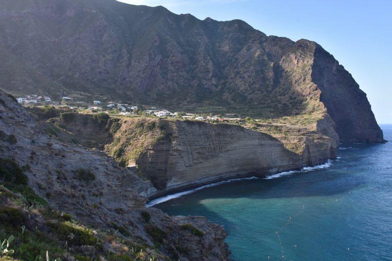 steep cliffs of Salina and village Pollara